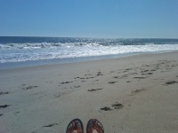My toes on the beach in Surf City, Topsail Island, NC