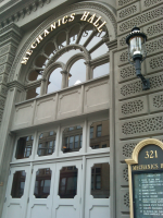 Main Street entrance to Mechanics Hall