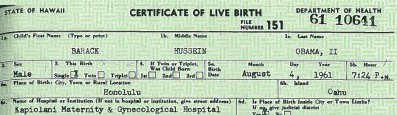 Top of BHO's long form birth certificate