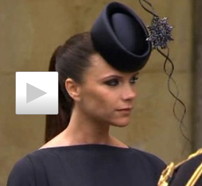 Victoria Beckham accompanied by bizarre spiny sea urchin