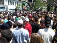 Parade crowd at Copley Square