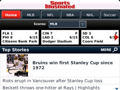 This morning on my SI BlackBerry app - it's all good for Boston