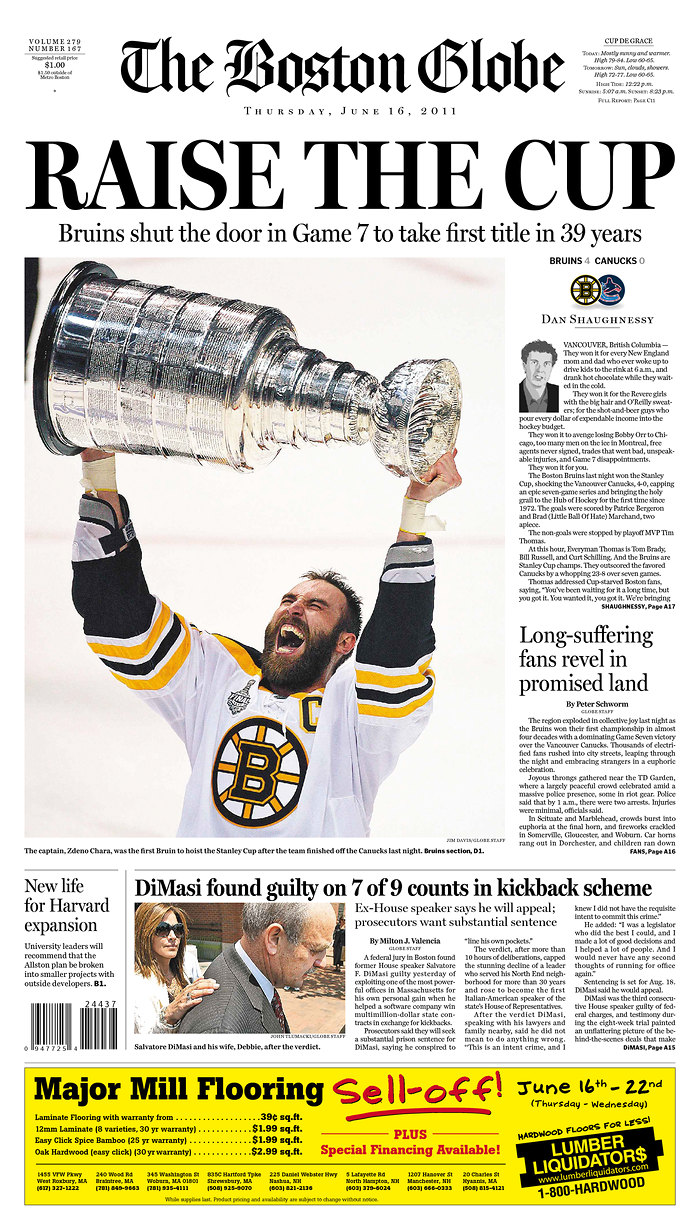 Bruins Championship Front Pages   Musings from the Den Mother