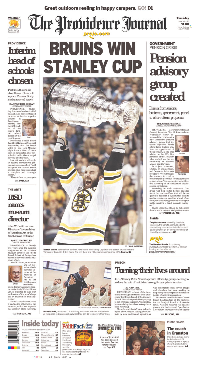 bruins championship front pages