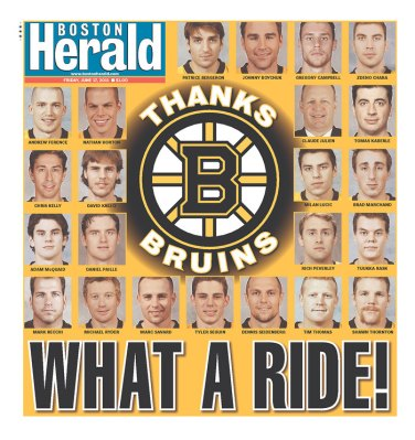 Friday's Boston Herald Stanley Cup front page