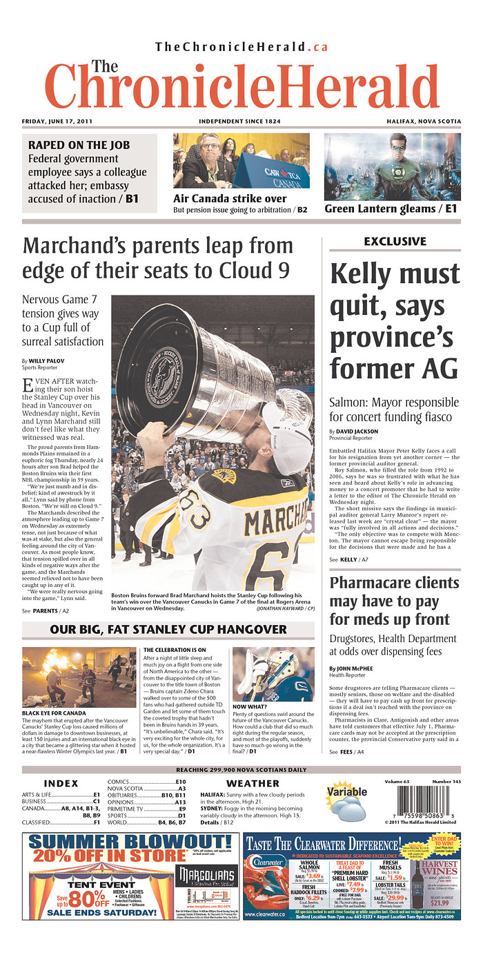 Chronicle Herald http://denmotherblog.wordpress.com/2011/06/27/bruins-championship-front-pages/