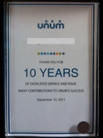 10 year plaque