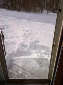 Front stoop, cleared - the steps, not so much